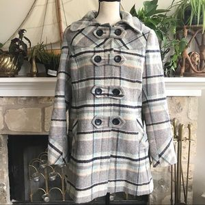 Preston & York detachable hood plaid pea coat